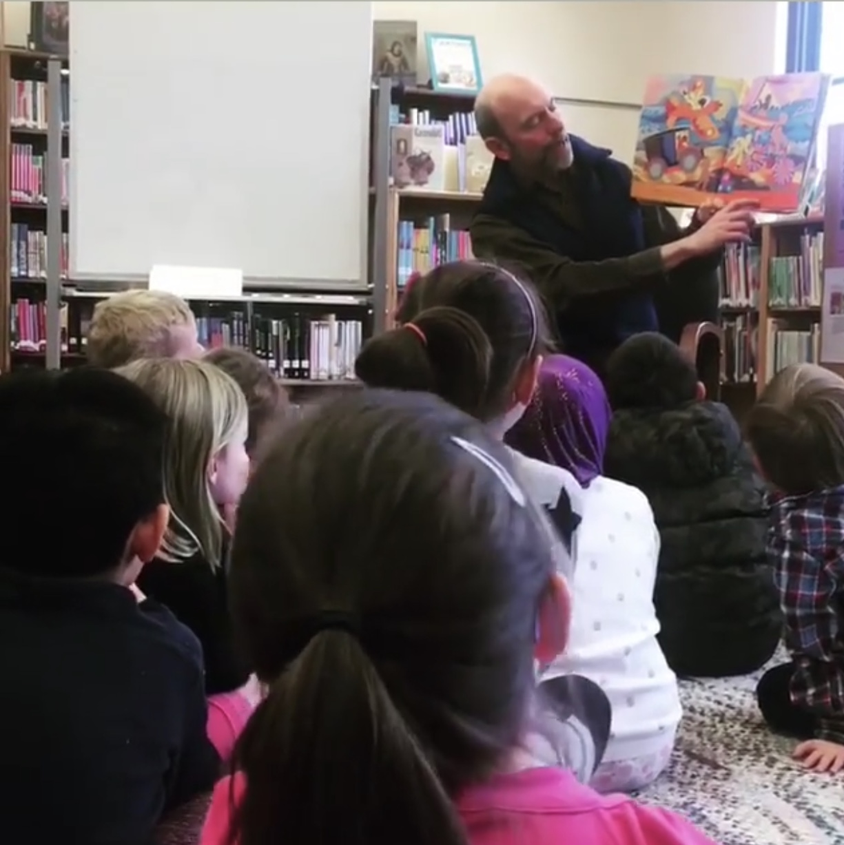 B.F. Day Librarian Reading To Students